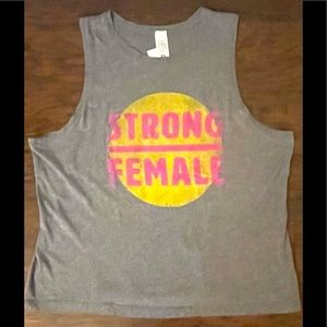 NWT Vintage look Tee STRONG WOMAN Graphic Tank